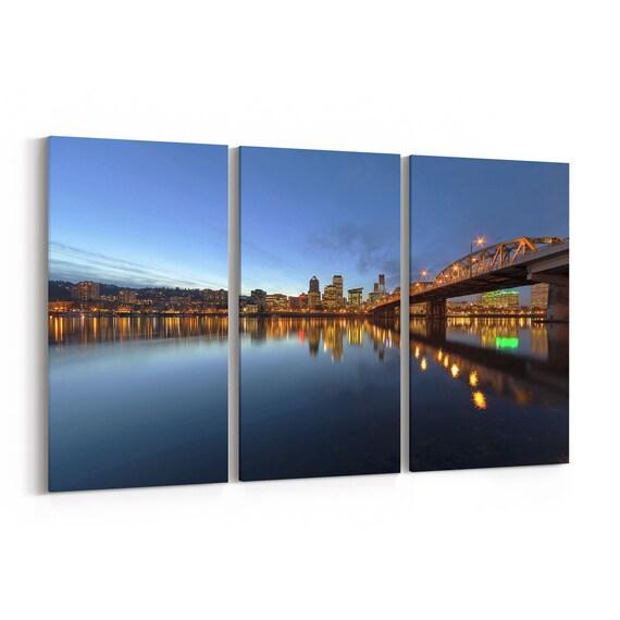 Portland Skyline Canvas Portland Canvas Print Oregon Multiple Sizes Wrapped Canvas on Wooden Frame