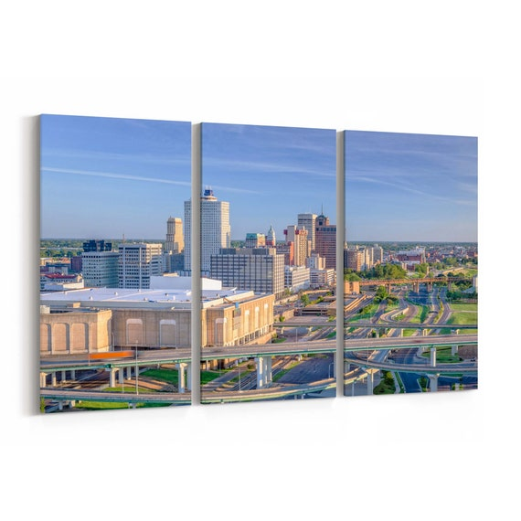 Memphis Skyline Canvas Memphis Canvas Wall Art Tennessee Multiple Sizes Wrapped Canvas on Wooden Frame
