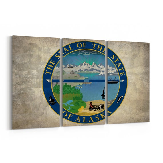 Alaska State Seal Wall Art Canvas Alaska State Seal Canvas Print Multiple Sizes Wrapped Canvas on Wooden Frame