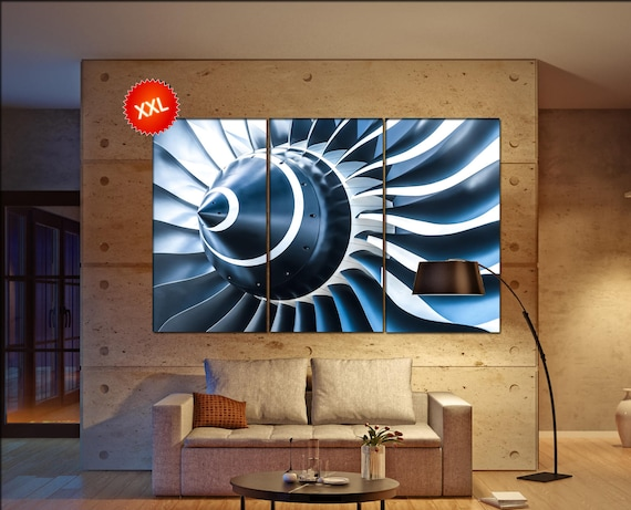 turbine aircraft canvas wall art art  large  jet motor canvas wall art print turbine aircraft Office Decor