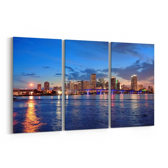 Miami Canvas Print Miami Wall Art Canvas Multiple Sizes Wrapped Canvas on Wooden Frame