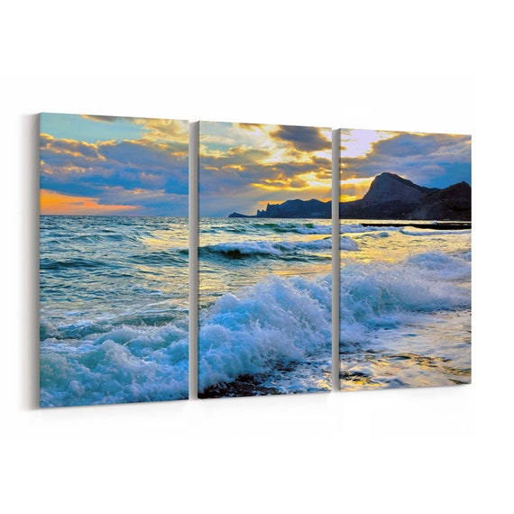 Sea Wave Canvas Print Sea Wave Canvas Art Multiple Sizes Wrapped Canvas on Wooden Frame