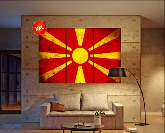 Macedonia flag canvas art print large  canvas print Macedonia flag country flag Wall Home office decor interior Office Decor