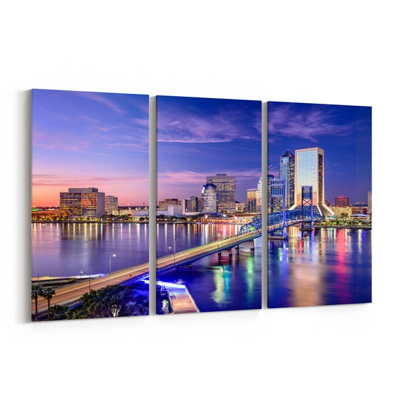 Jacksonville Canvas Print Jacksonville Wall Art Canvas Multiple Sizes Wrapped Canvas on Wooden Frame