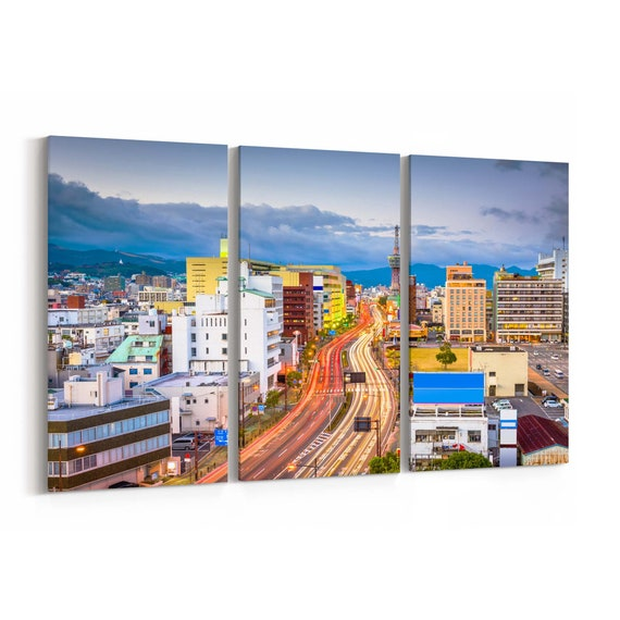Beppu Skyline Wall Art Beppu Canvas Print Japan Multiple Sizes Wrapped Canvas on Wooden Frame