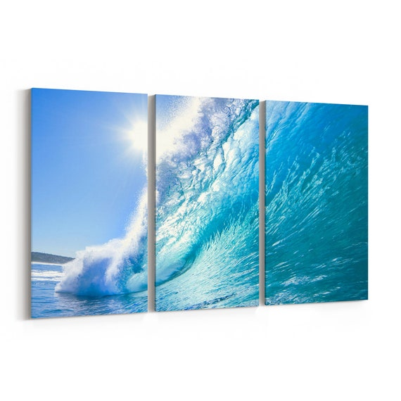 Ocean Wave Canvas Ocean Wave Canvas Print Multiple Sizes Wrapped Canvas on Wooden Frame