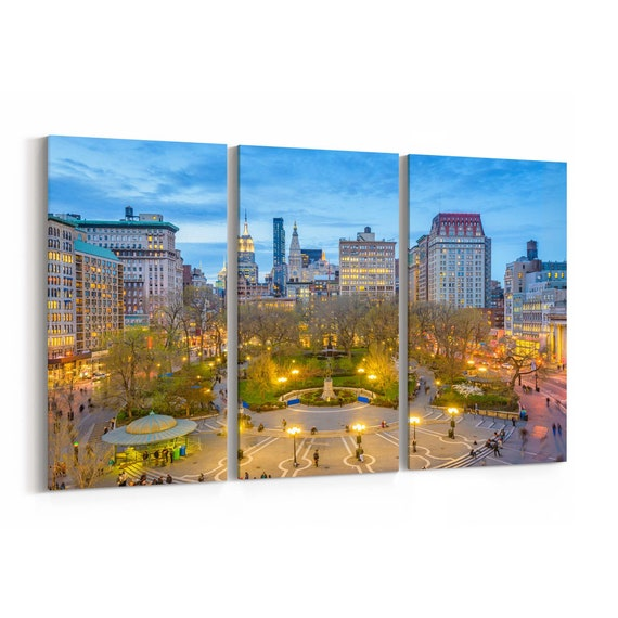 Union Square Skyline Wall Art Union Square Canvas Print New York City Multiple Sizes Wrapped Canvas on Wooden Frame