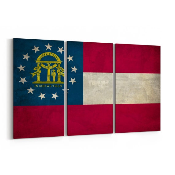 Georgia State Flag Canvas Print Georgia State Flag Wall Art Canvas Multiple Sizes Wrapped Canvas on Wooden Frame