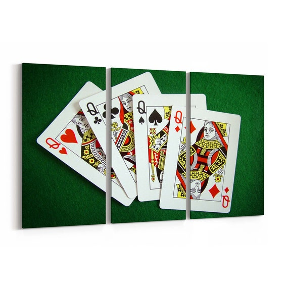 Playing Cards Canvas Print Playing Cards Wall Art Canvas Multiple Sizes Wrapped Canvas on Wooden Frame