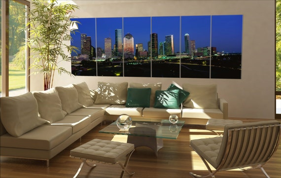 6 panels / boards houston skyline at sunset with Memorial Park in the foreground  Large panorama panoramic canvas wall art art