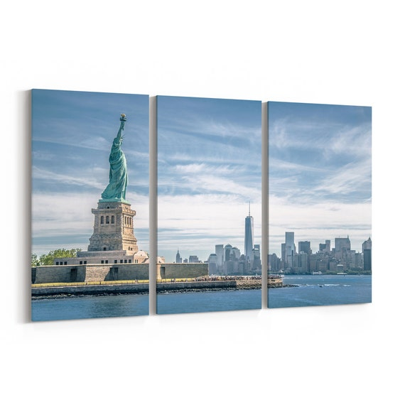 Statue of Liberty Skyline Wall Art Statue of Liberty Canvas Print Multiple Sizes Wrapped Canvas on Wooden Frame