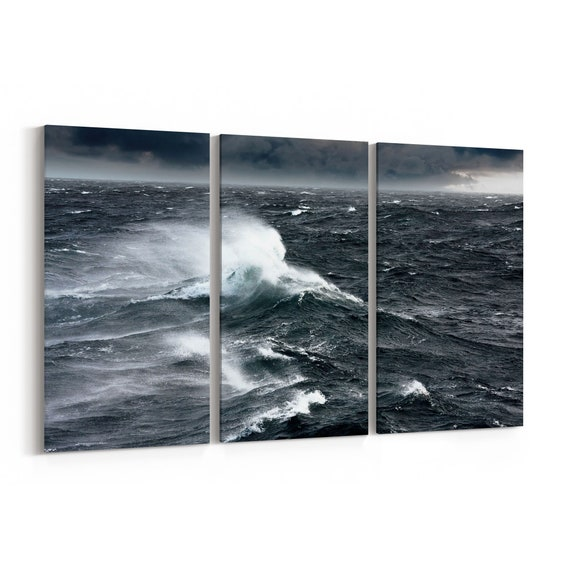 Sea Waves Wall Art Canvas Sea Waves Canvas Print Multiple Sizes Wrapped Canvas on Wooden Frame