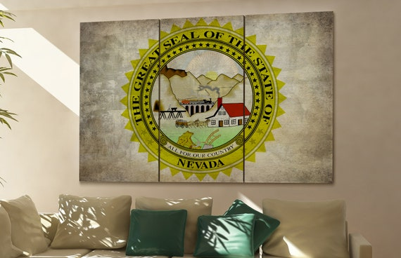 Nevada seal flag  canvas Nevada seal flag wall decoration Nevada seal flag canvas art Nevada seal flag large canvas