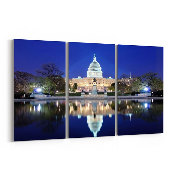 Washington DC Skyline Wall Art Canvas Washington DC Canvas Print Multiple Sizes Wrapped Canvas on Wooden Frame