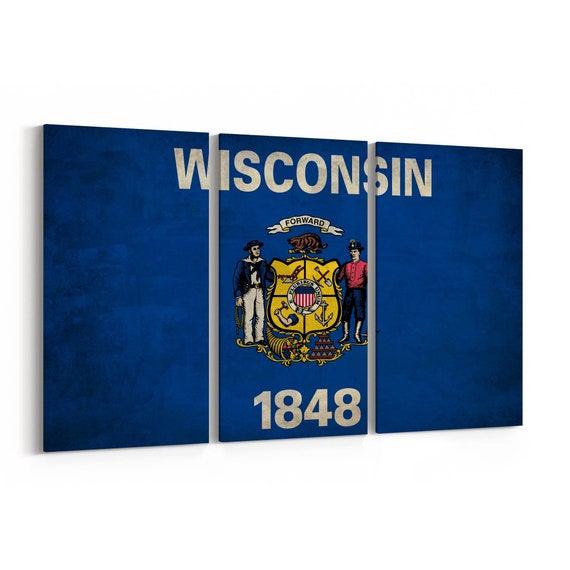 Wisconsin State Flag Canvas Print Wisconsin State Flag Wall Art Canvas Multiple Sizes Wrapped Canvas on Wooden Frame