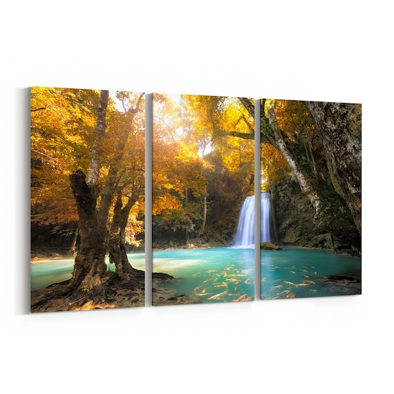 Deep Forest Waterfall Canvas Print Deep Forest Waterfall Wall Art Canvas Multiple Sizes Wrapped Canvas on Wooden Frame