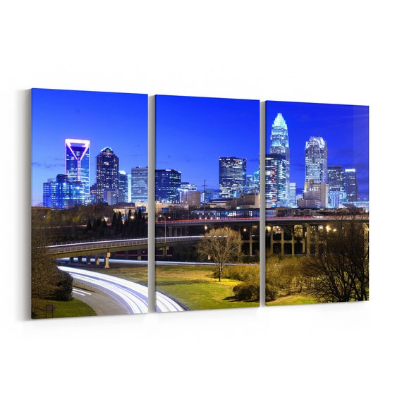 Charlotte Skyline Canvas Charlotte Canvas Wall Art North Carolina Multiple Sizes Wrapped Canvas on Wooden Frame