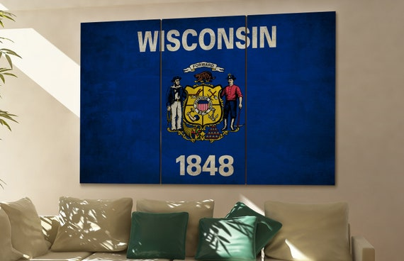 Wisconsin state flag Wisconsin flag state of Wisconsin Wisconsin wall decor Wisconsin wall art Wisconsin gift