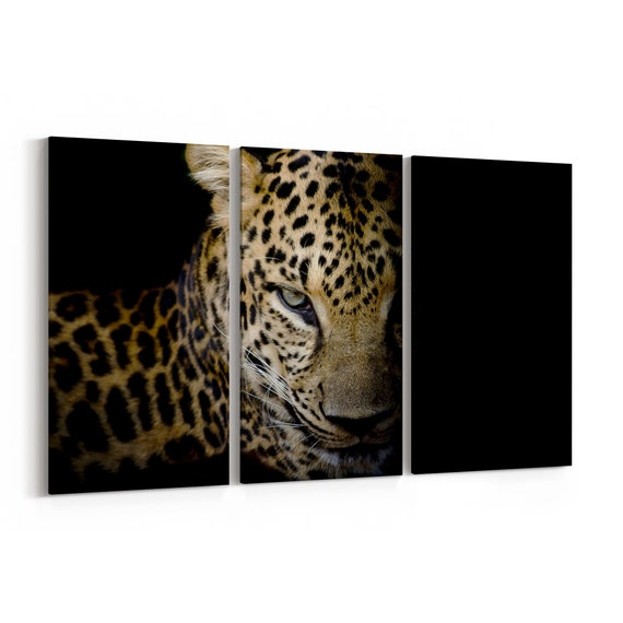 Leopard Wall Art Canvas Leopard Canvas Print Multiple Sizes Wrapped Canvas on Wooden Frame