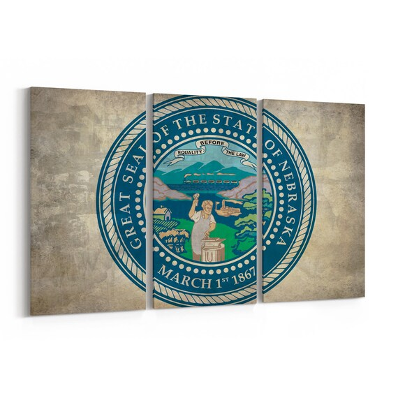 Nebraska State Seal Wall Art Canvas Nebraska State Seal Canvas Print Multiple Sizes Wrapped Canvas on Wooden Frame