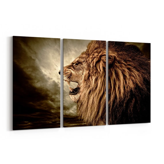 Roaring Lion Canvas Print Roaring Lion Wall Art Canvas Multiple Sizes Wrapped Canvas on Wooden Frame