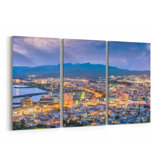 Nago Skyline Wall Art Nago Canvas Print Okinawa Multiple Sizes Wrapped Canvas on Wooden Frame
