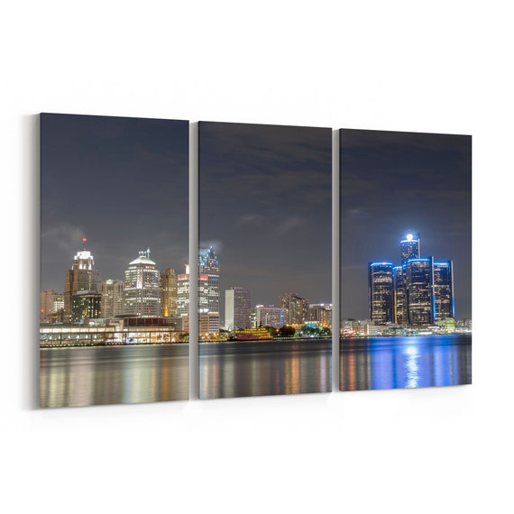 Detroit Canvas Print Detroit Wall Art Canvas Multiple Sizes Wrapped Canvas on Wooden Frame