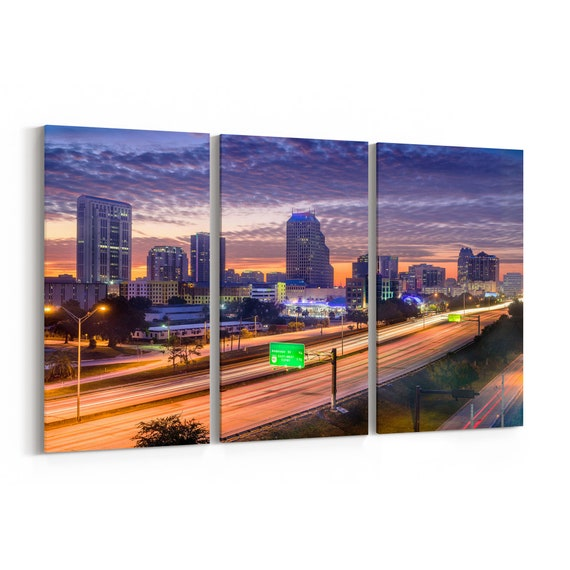 Orlando Skyline Canvas Orlando Canvas Wall Art Multiple Sizes Wrapped Canvas on Wooden Frame