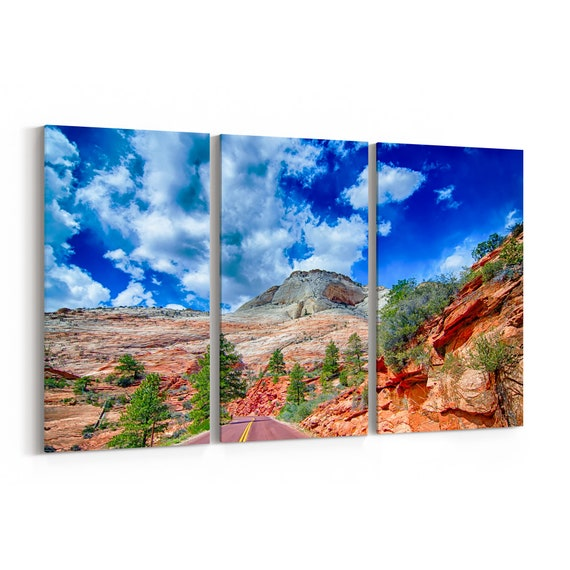 Zion Canyon National Park Canvas Print Zion Canyon National Park Wall Art Canvas Multiple Sizes Wrapped Canvas on Wooden Frame
