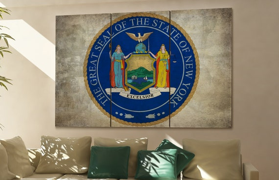 New york seal flag  canvas New york seal flag wall decoration New york seal flag canvas art New york seal flag large canvas