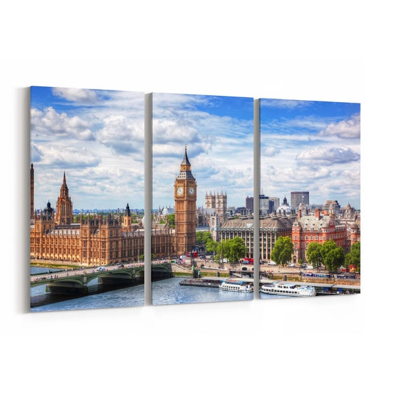 Big Ben Skyline Wall Art Big Ben Canvas Print Multiple Sizes Wrapped Canvas on Wooden Frame