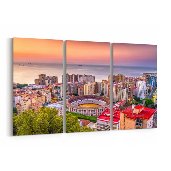 Malaga Skyline Wall Art Malaga Canvas Print Spain Multiple Sizes Wrapped Canvas on Wooden Frame