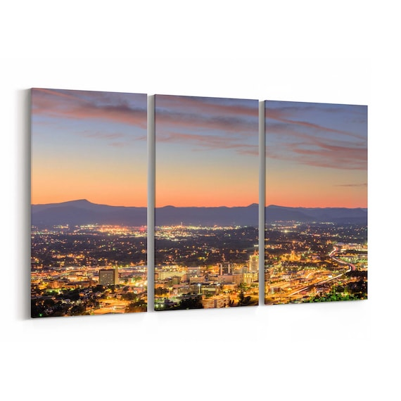Roanoke Canvas Print Roanoke Wall Art Canvas Virginia Multiple Sizes Wrapped Canvas on Wooden Frame