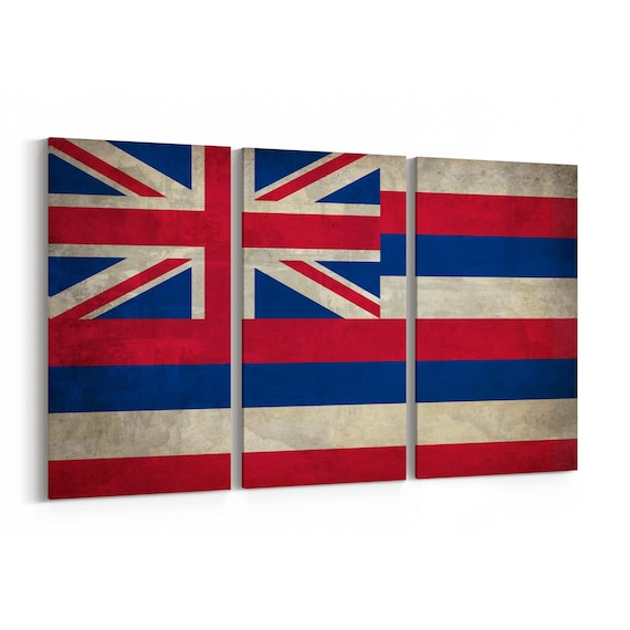 Hawaii State Flag Canvas Print Hawaii State Flag Wall Art Canvas Multiple Sizes Wrapped Canvas on Wooden Frame