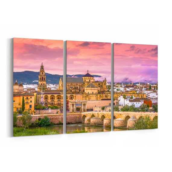 Cordoba Skyline Wall Art Cordoba Canvas Print Spain Multiple Sizes Wrapped Canvas on Wooden Frame