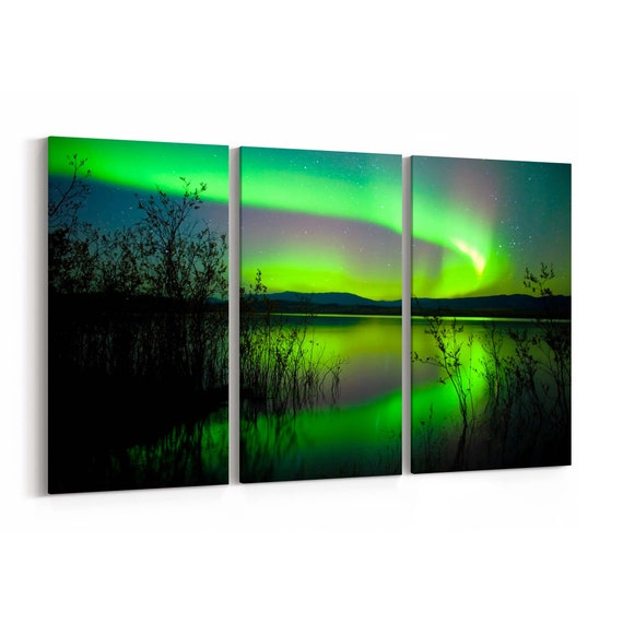Northern Lights Canvas Art Northern Lights Wall Art Canvas Multiple Sizes Wrapped Canvas on Wooden Frame