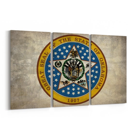Oklahoma State Seal Wall Art Canvas Oklahoma State Seal Canvas Print Multiple Sizes Wrapped Canvas on Wooden Frame
