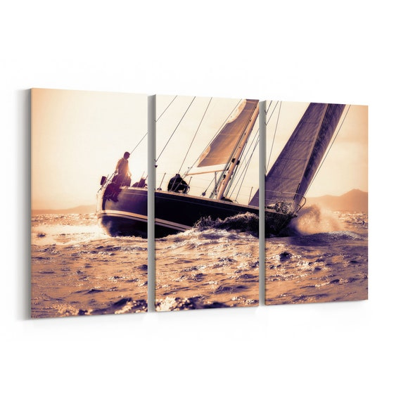 Sail Boat Wall Art Canvas Sail Boat Canvas Print Multiple Sizes Wrapped Canvas on Wooden Frame