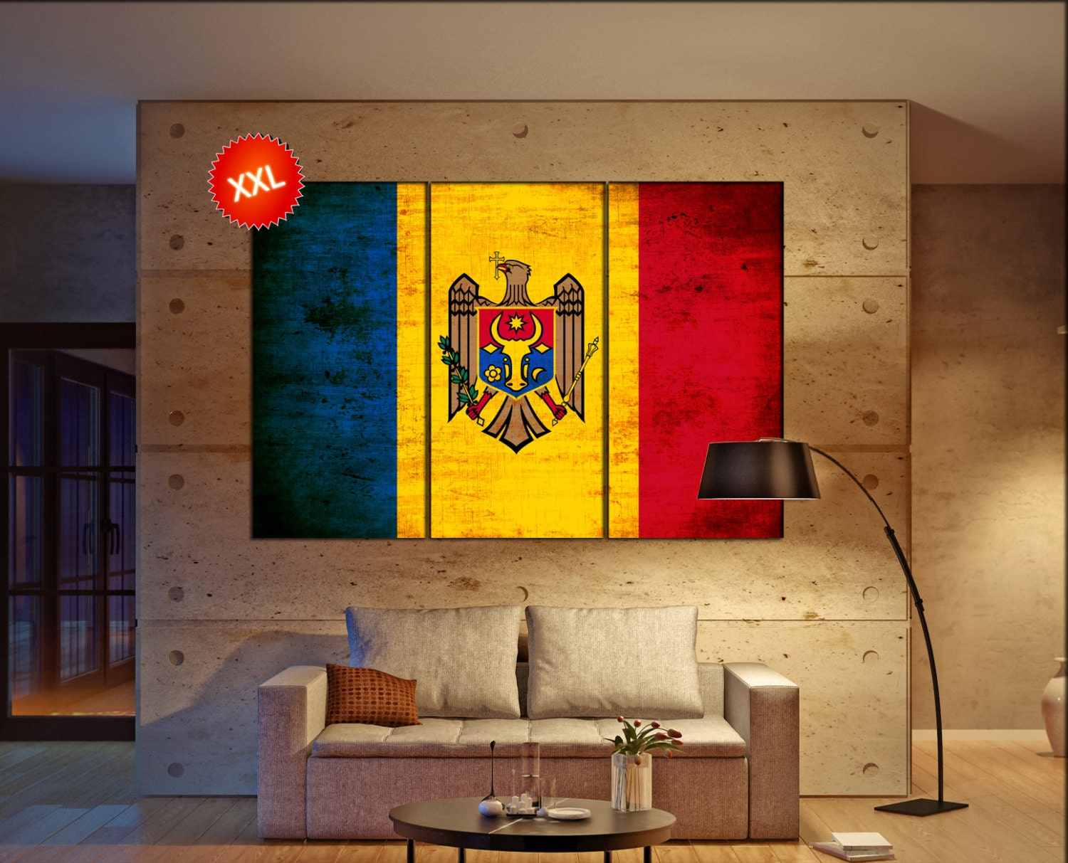 Moldova flag canvas wall art art print large canvas wall art print ...