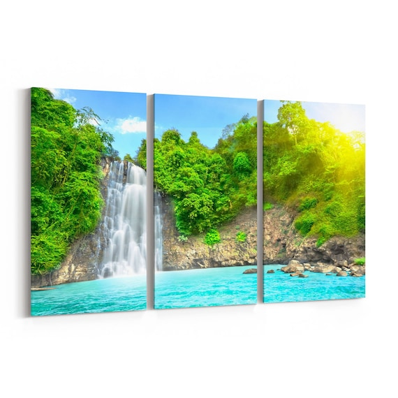 Waterfall Canvas Art Waterfall Wall Art Canvas Multiple Sizes Wrapped Canvas on Wooden Frame