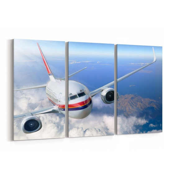 Airplane Canvas Art Airplane Canvas Print Multiple Sizes Wrapped Canvas on Wooden Frame