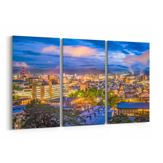 Tottori Skyline Wall Art Tottori Canvas Print  Japan Multiple Sizes Wrapped Canvas on Wooden Frame