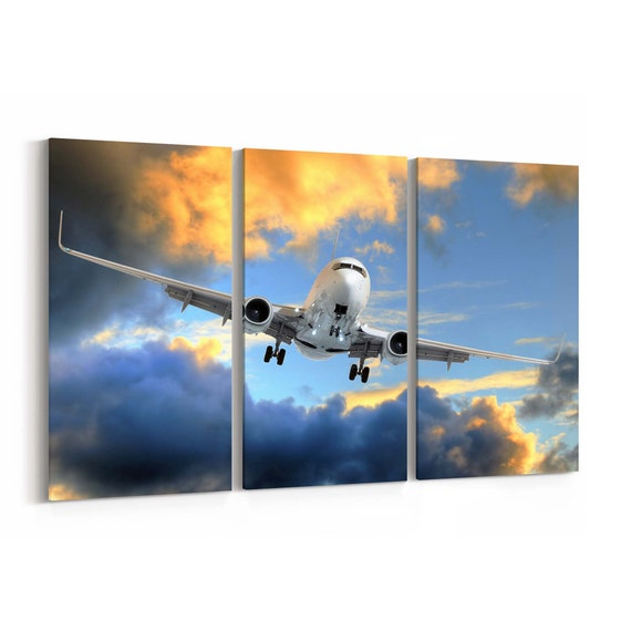 Airplane Canvas Art Airplane Wall Art Canvas Multiple Sizes Wrapped Canvas on Wooden Frame