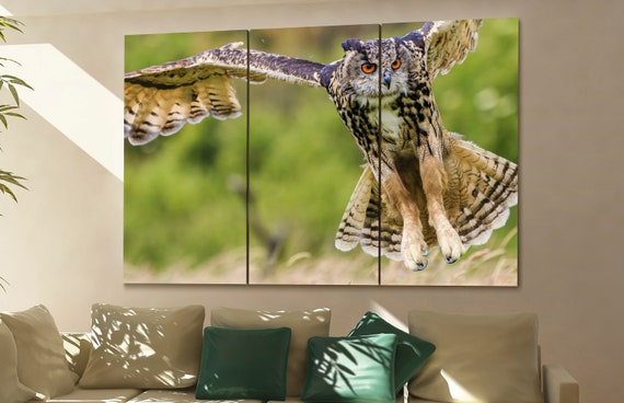 Eagle Owl  print  on canvas wall art Eagle Owl swoops in low hunting its prey photo art work framed art artwork