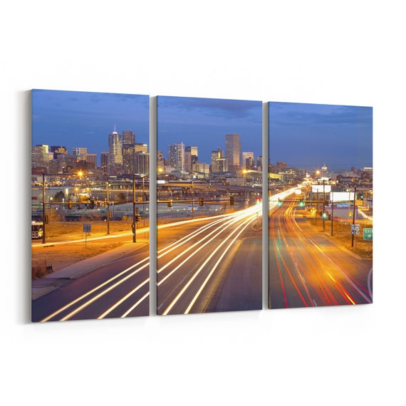 Denver Canvas Print Denver Wall Art Canvas Multiple Sizes Wrapped Canvas on Wooden Frame