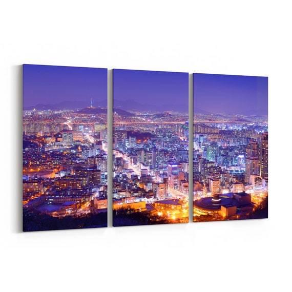 Seoul Skyline Wall Art Seoul Canvas Print Multiple Sizes Wrapped Canvas on Wooden Frame