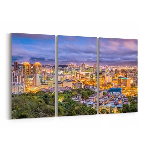 Taipei City Skyline Wall Art Taipei City Canvas Print Taiwan Multiple Sizes Wrapped Canvas on Wooden Frame