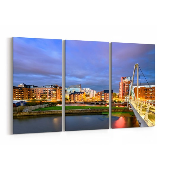 Leeds Skyline Wall Art Canvas Leeds Canvas Print Multiple Sizes Wrapped Canvas on Wooden Frame