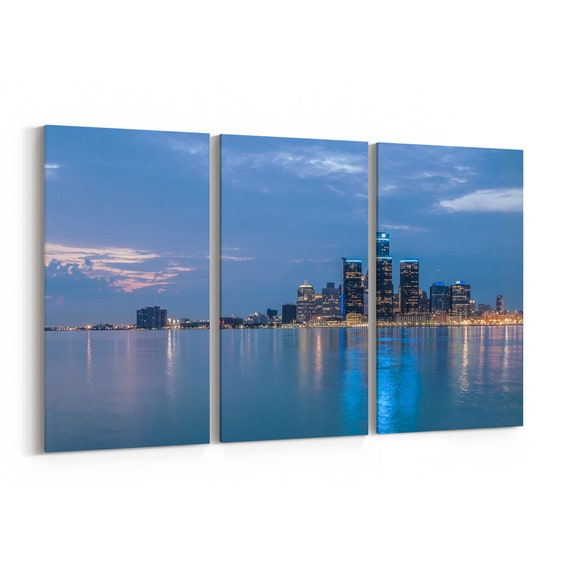 Detroit Canvas Art Detroit Wall Art Canvas Multiple Sizes Wrapped Canvas on Wooden Frame