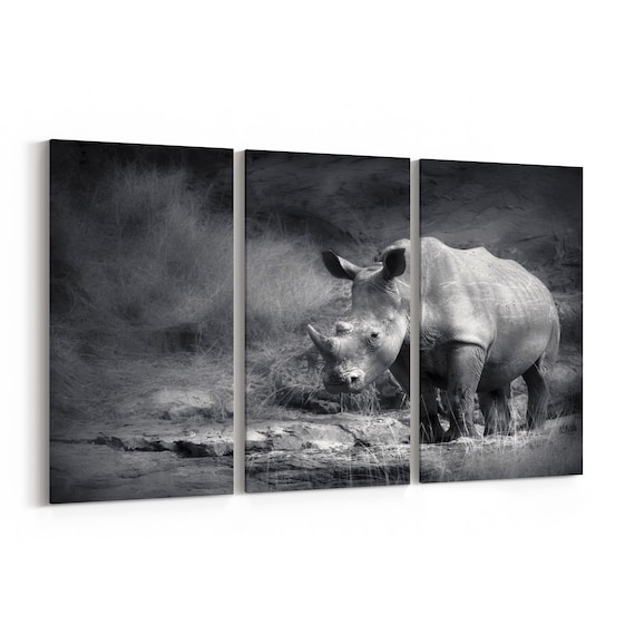 Rhino Wall Art Canvas Rhino Canvas Print Multiple Sizes Wrapped Canvas on Wooden Frame